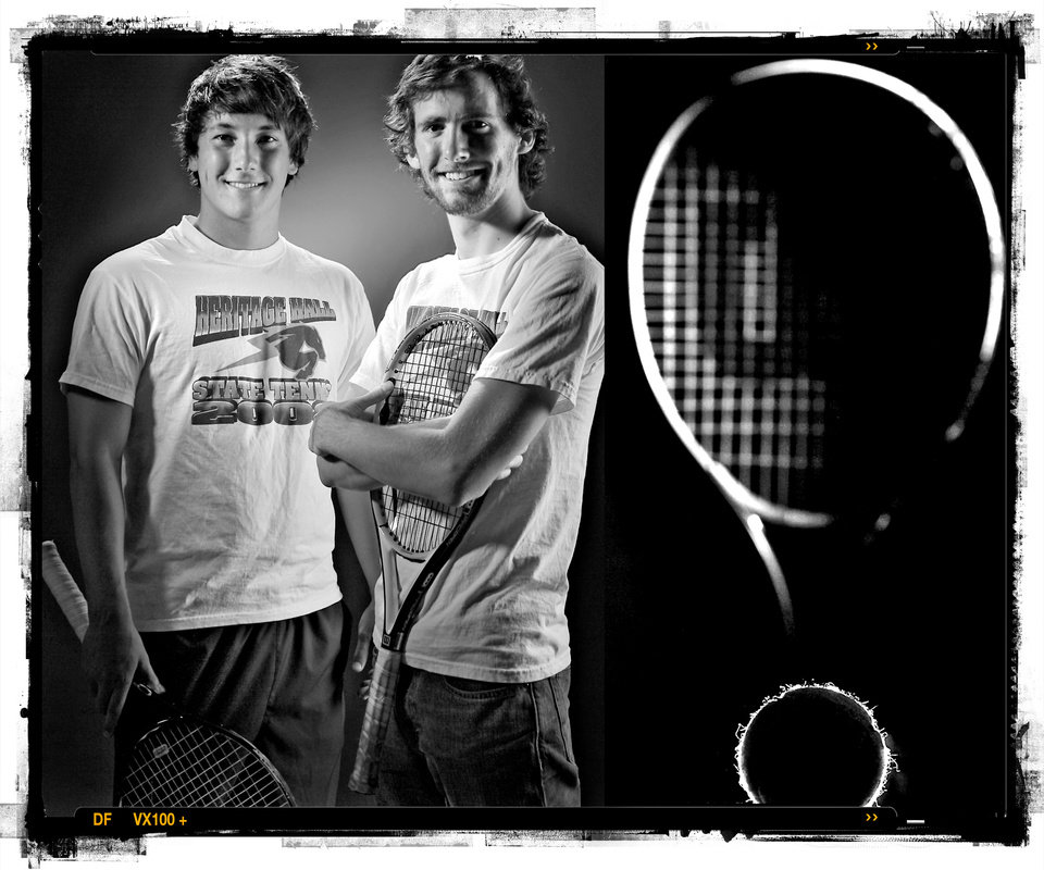 SECOND PLACE, PHOTO PACKAGE:  Heritage Hall High School's Caleb Villaflor and Justin Wise, from left, boy's tennis players of the year Spring sports honor roll shot in the OPUBCO studio on Thursday, May 22, 2008, in Oklahoma City, Okla.  staff photo Illustration by CHRIS LANDSBERGER