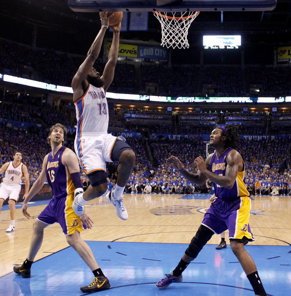 Oklahoma City's James Harden (13) dunks the ball during Game 1 in the second round of the NBA playoffs between the Oklahoma City Thunder and the L.A. Lakers at Chesapeake Energy Arena in Oklahoma City, Monday, May 14, 2012. Photo by Sarah Phipps, The Oklahoman