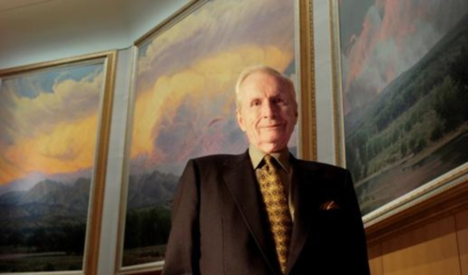 Artist Wilson Hurley, in front of his painting 'New Mexico Suite,' at the Cowboy & Western Heritage Hall of Fame Friday, October 7, 2005, in Oklahoma City, Okla. By Matt Strasen/The Oklahoman.