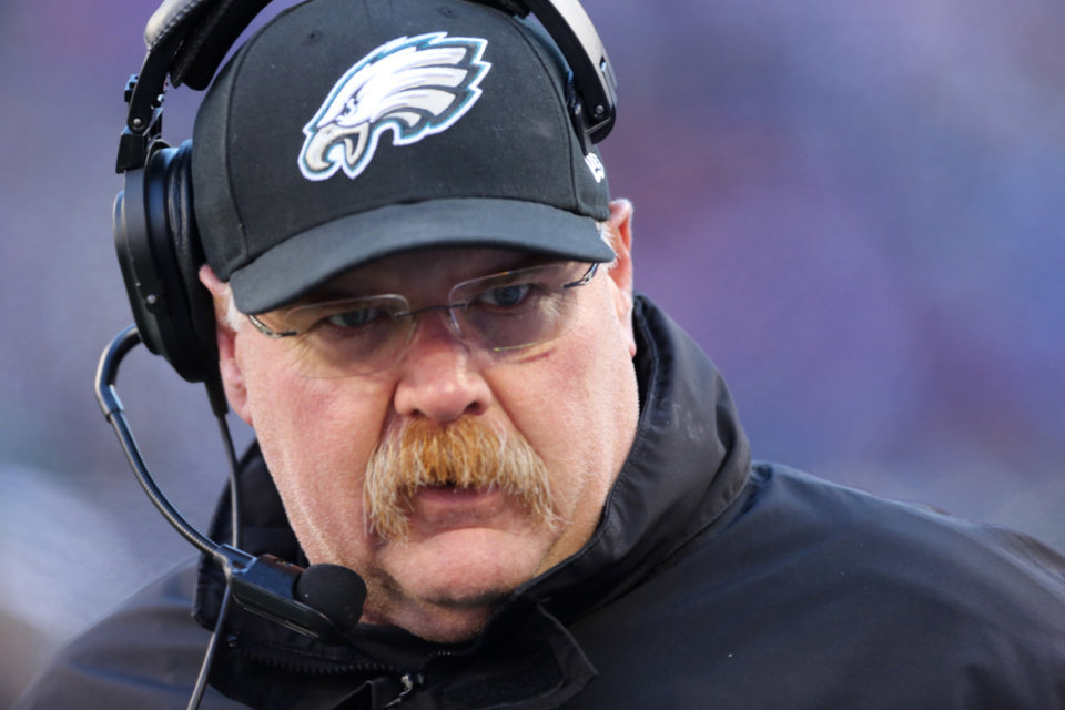 Photo - FILE - Philadelphia Eagles head coach Andy Reid during the first half of an NFL football game against the New York Giants Sunday, Dec. 30, 2012 in East Rutherford, N.J. Reid has been fired after 14 seasons coaching the Philadelphia Eagles. The Eagles made the announcement Monday, Dec. 31, 2012. (AP Photo/Peter Morgan, File)