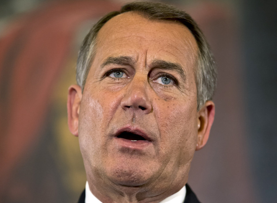 Photo -   Speaker of the House John Boehner, R-Ohio, talks about the elections and the unfinished business of Congress, at the Capitol in Washington, Wednesday, Nov. 7, 2012. The first post-election test of wills could start next week when Congress returns from its election recess to deal with unfinished business — including a looming