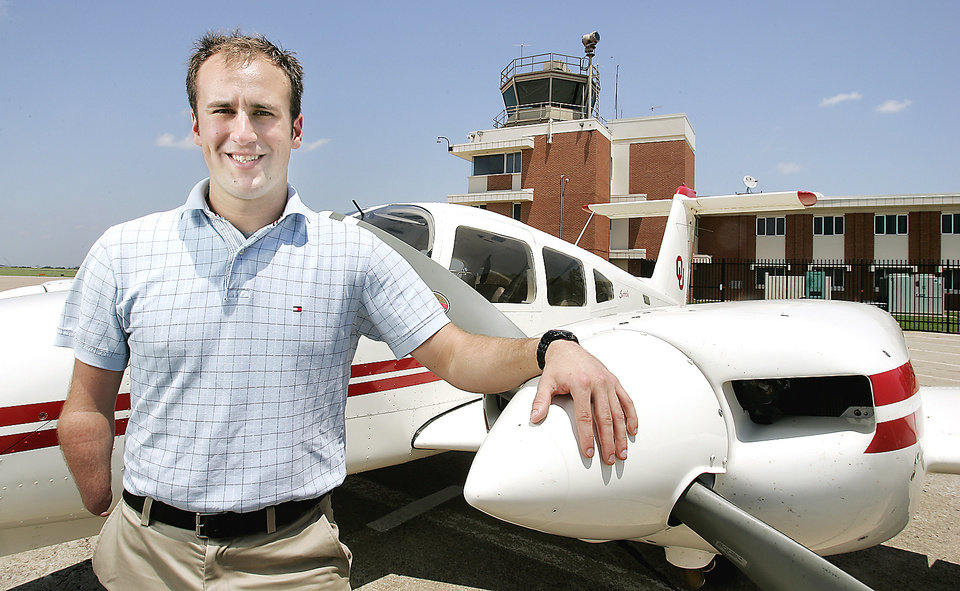 Photo - Eric Gaffney, a University of Oklahoma aviation student from Broken Arrow, is advancing toward becoming a commercial pilot despite being born with one hand. Flight instructors recently honored him with the Stick and Rudder Award.  BY JACONNA AGUIRRE, THE OKLAHOMAN