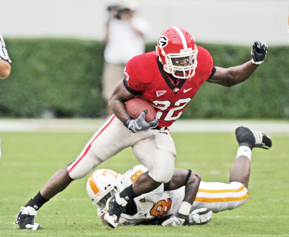 Photo - Georgia's Richard Samuel is the leading candidate to become the Bulldogs' No. 1 ball carrier this season. AP photo
