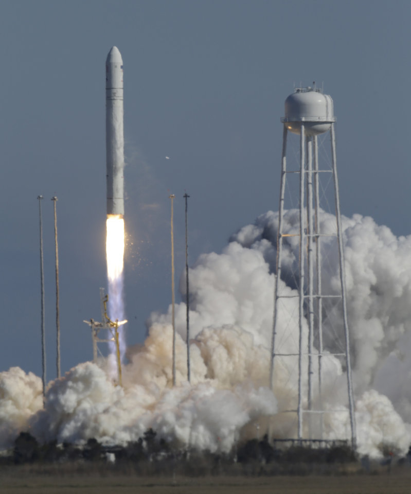 Orbital Sciences Corp.'s Antares rocket lifts off from the NASA facility on Wallops Island, Va., Sunday, April 21, 2013. The rocket will eventually deliver supplies to the International Space Station. (AP Photo/Steve Helber)