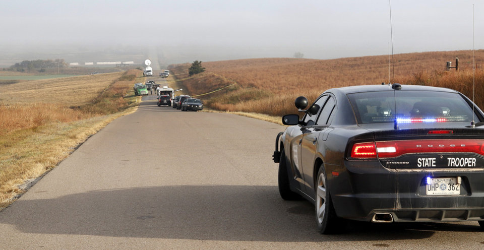 Photo - Scene on County Rd. N 2130, north of Butler  in Custer County, Monday morning , Oct. 31, 2016, where double murder suspect Michael Vance, Jr. was killed Sunday night in a gun battle with law officers. Photo by Jim Beckel, The Oklahoman