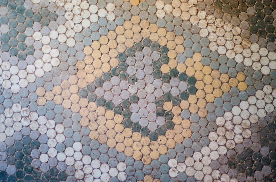 Photo -  The tile floor inside the entry of the Marion Hotel is one of the few interior features to be preserved at the Marion Hotel, 110 NW 10.    Provided