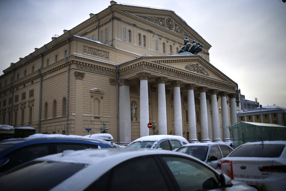 Photo - In this photo made Tuesday, Feb. 5, 2013, the Bolshoi Theater is in Moscow, Russia. Pavel Dmitrichenko, a Russian ballet star who most recently played the title role in