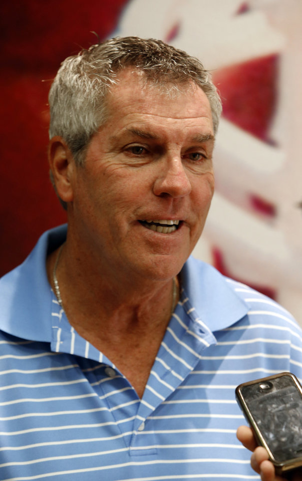 Photo - Assistant head coach Bobby Jack Wright speaks to the press at a media availability for the University of Oklahoma Sooner (OU) football team following practice on Tuesday, Aug. 21, 2012 in Norman, Okla.  Photo by Steve Sisney, The Oklahoman