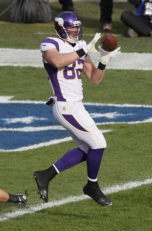 Minnesota Vikings tight end Kyle Rudolph (82) makes a touchdown catch in the second half of an NFL football game against the Chicago Bears in Chicago, Sunday, Nov. 25, 2012. (AP Photo/Charles Rex Arbogast)