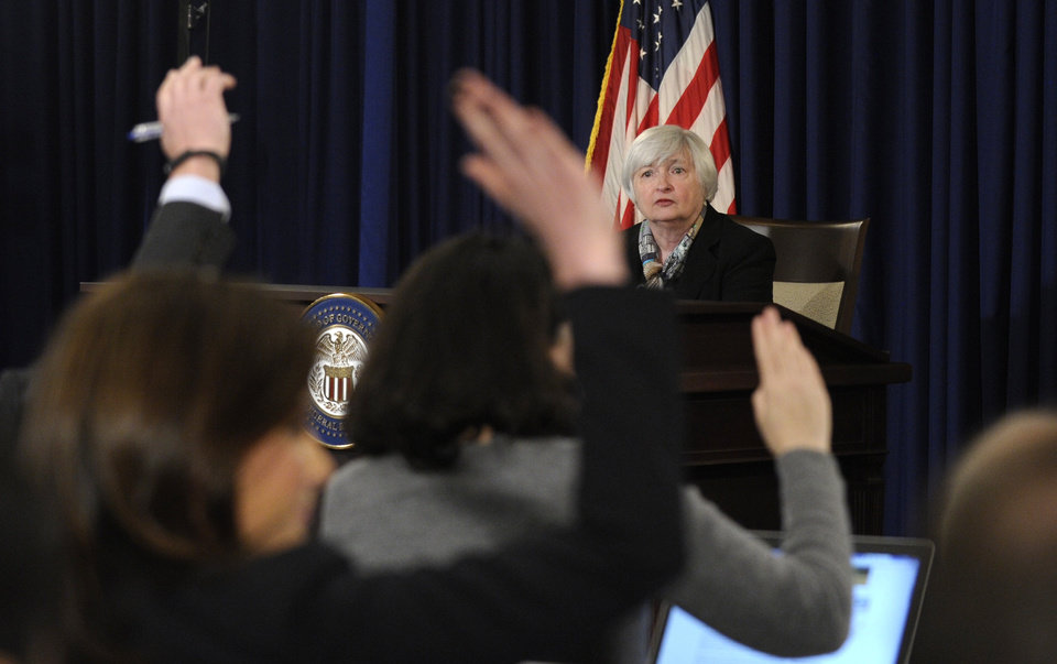 Photo - Federal Reserve Chair Janet Yellen participates in her first news conference Wednesday at the Federal Reserve in Washington .     AP Photo  Susan Walsh - AP