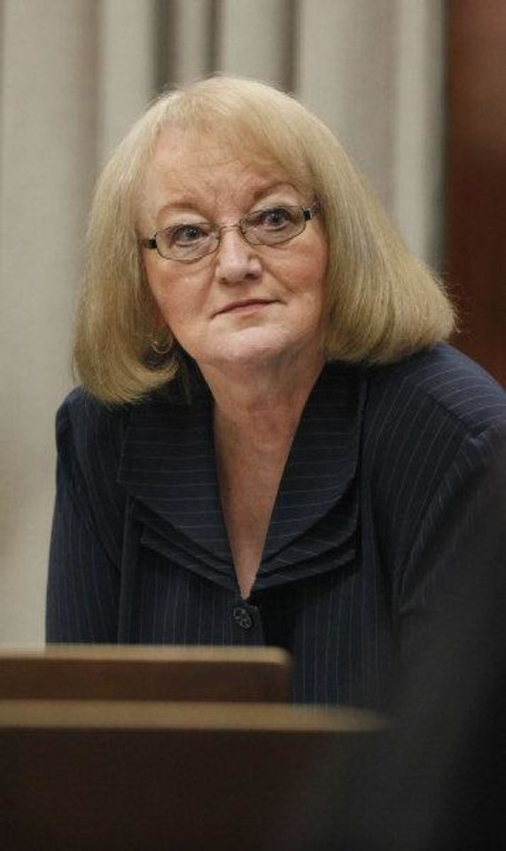 Photo - POLITICAL BRIBERY CASE / CORRUPTION HEARING: Former state Sen. Debbe Leftwich in the courtroom during her preliminary hearing at the Oklahoma County Courthouse in Oklahoma City, Wednesday, Nov. 2, 2011.  Rep. Randy Terrill, R-Moore, is accused of offering Leftwich a bribe, an $80,000-a-year state job, to not run last year for re-election. Photo by Paul B. Southerland, The Oklahoman ORG XMIT: KOD