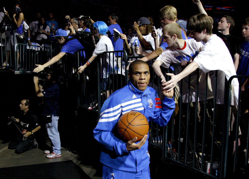 Oklahoma City's Russell Westbrook runs onto the court before Game 2 in the second round of the NBA playoffs between the Oklahoma City Thunder and L.A. Lakers at Chesapeake Energy Arena in Oklahoma City, Wednesday, May 16, 2012. Photo by Bryan Terry, The Oklahoman