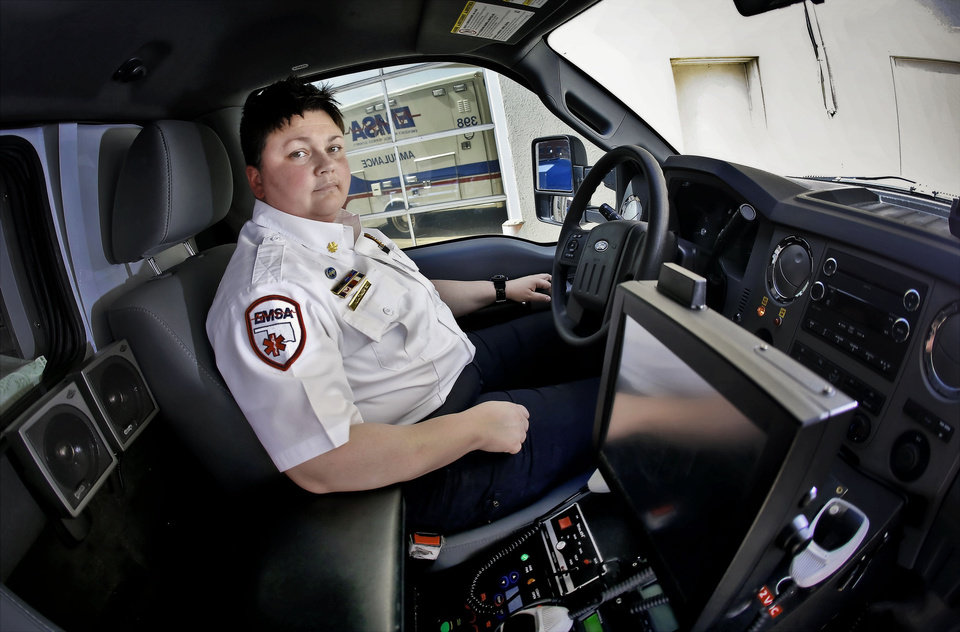 �It�s the biggest thing we are dealing with today, drivers who are texting or reading apps on their iPhone,� said Heather Yazdanipour, a paramedic with Emergency Medical Services Authority.  Photo by Chris Landsberger, The Oklahoman
