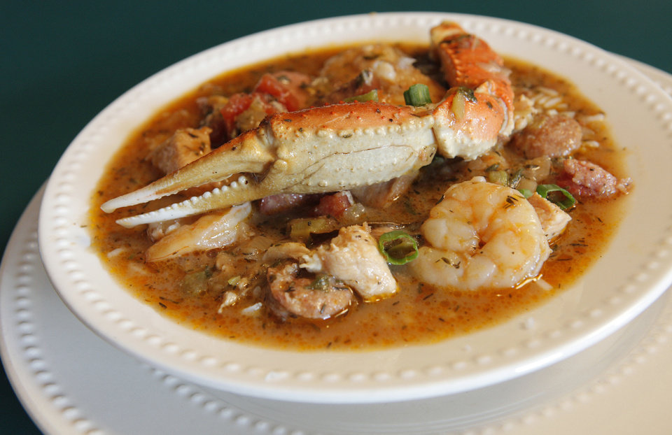 Photo - A bowl of seafood gumbo prepared at the Bayou Grill and Bakery in Edmond.  PAUL B. SOUTHERLAND - THE OKLAHOMAN