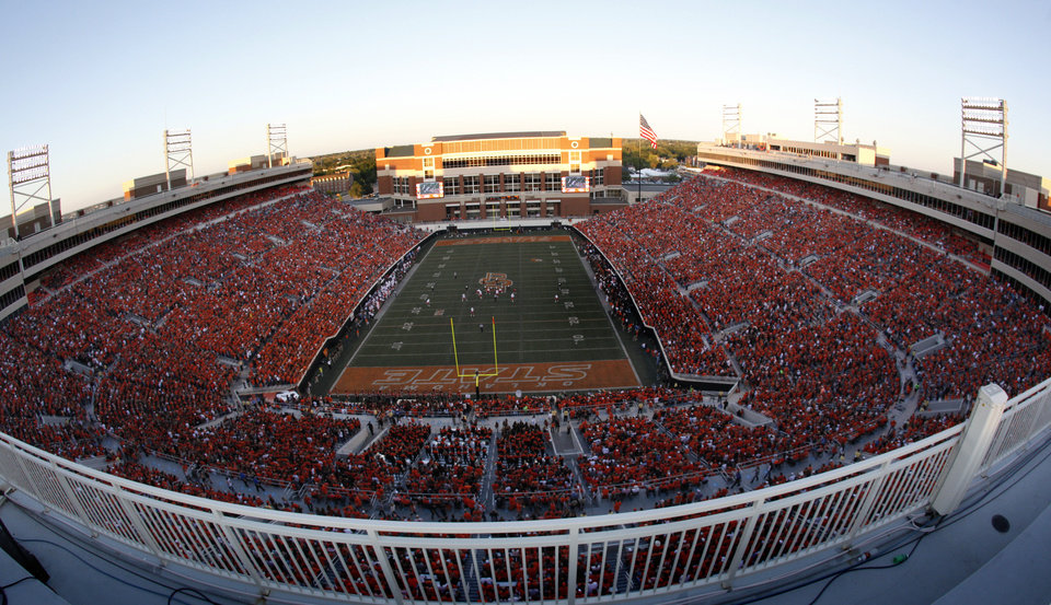 Photo - Boone Pickens Stadium is pictured during a college football game between the Oklahoma State University Cowboys (OSU) and the University of Arizona Wildcats at Boone Pickens Stadium in Stillwater, Okla., Thursday, Sept. 8, 2011.PHOTO BY SARAH PHIPPS, The Oklahoman