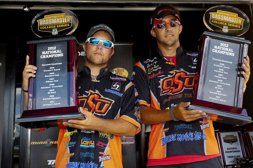Photo - Oklahoma State University's Blake Flurry of Roland, left, and Zack Birge of Blanchard won the 2012 Bassmaster College National Championship. Photo provided by BASS