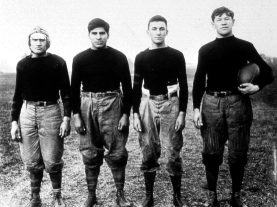 The backfield of the Carlise, Pa., Indian Industrial School football team included legendary athlete Jim Thorpe.  AP ARCHIVE PHOTO