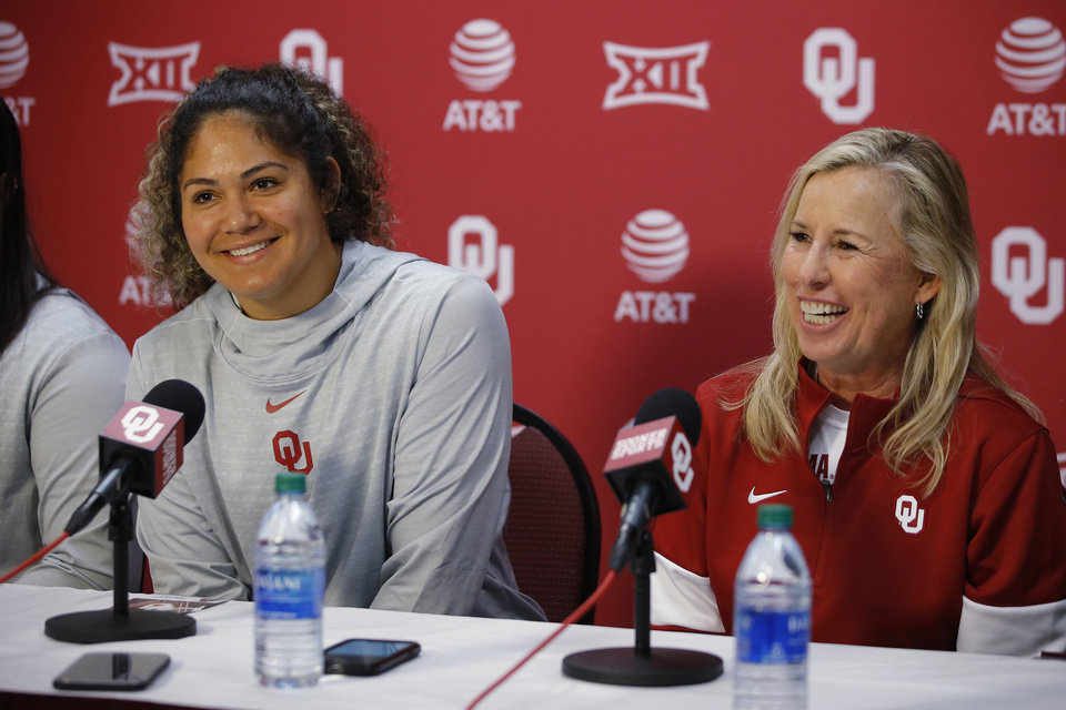 Photo - Oklahoma softball coach Patty Gasso and player Jocelyn Alo smile during a press conference in Norman, Tuesday, Jan. 28, 2020. [Bryan Terry/The Oklahoman]
