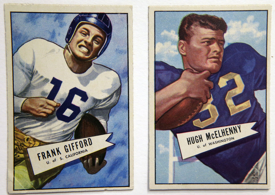 Photo - A University of Southern California 1952 card of football star Frank Gifford, the New York Giants' No. 1 draft pick, is shown Jan. 8, 2014, at the Metropolitan Museum of Art in New York. The cards are part of a pop-up exhibition at the Met celebrating football's history through the ages with vintage trading cards. The 150 cards, including a series from 1894, are part of approximately 600 cards from the museum's vast collection of sport trade cards donated to the Met by the late hobby pioneer Jefferson Burdick.  The exhibit runs Jan. 24 through Feb. 10. (AP Photo/Kathy Willens)