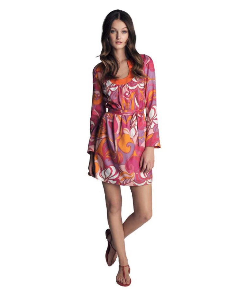 Photo - Banana Republic and Trina Turk are proud to announce the debut of the Banana Republic Trina Turk Collection, a limited-edition capsule featuring chic summer essentials inspired by the southern California lifestyle. Pictured here, Pink Swirl Printed Bonita Tunic Dress, $120.00, Orange Lily Earrings, $45.00 Orange Cocktail Ring, $45.00, Red Tonya T-Strap Flat Sandal, $69.00. (Courtesy Banana Republic via Los Angeles Times/MCT)