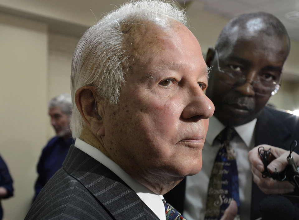 Photo - FILE - In this March 17, 2014 file photo, former Louisiana Gov. Edwin Edwards speaks to reporters at the Baton Rouge Press Club in Baton Rouge, La. Edwards served eight years in prison for a felony racketeering conviction arising from the licensing of riverboat casinos in his fourth term. He announced in March 2014 he is running to represent Louisiana's 6th District in Congress. (AP Photo/Travis Spradling, File)