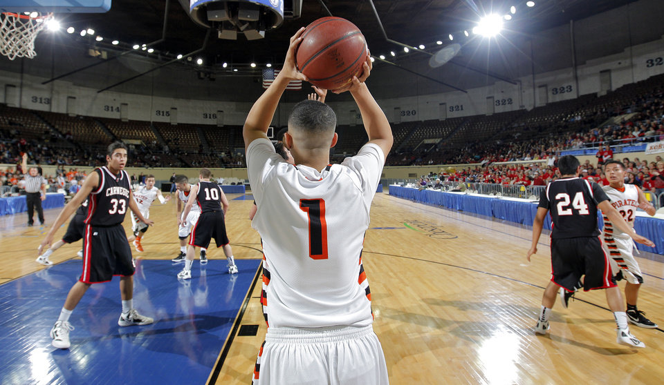 Preston's Brian Mayfield (1) inbounds the ball during the first round 2A boy's State Basketball Championship game between Preston High School and Carnegie High School at the State Fair Arena on Thursday, March 8, 2012 in Oklahoma City, Okla.  Photo by Chris Landsberger, The Oklahoman