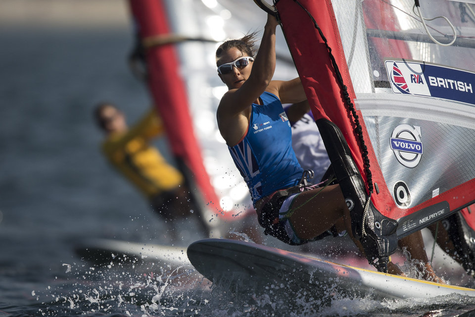 Photo - Great Britain's RS:X women's class Bryony Shaw competes during the first test event for the Rio 2016 Olympic Games at the Guanabara Bay in Rio de Janeiro, Sunday, Aug. 3, 2014. International sailors are competing in the first test event of the 2016 Olympics in Rio de Janeiro, concerned about water pollution in Guanabara Bay that some have likened to a sewer. (AP Photo/Felipe Dana)