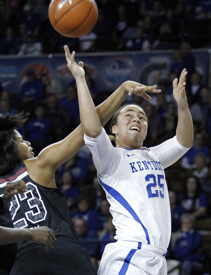 Photo - Kentucky's Makayla Epps (25) shoots under pressure from South Carolina's Tina Roy (23) during the second half of an NCAA college basketball game, Thursday, Feb. 20, 2014, in Lexington, Ky. South Carolina won 81-58. (AP Photo/James Crisp)
