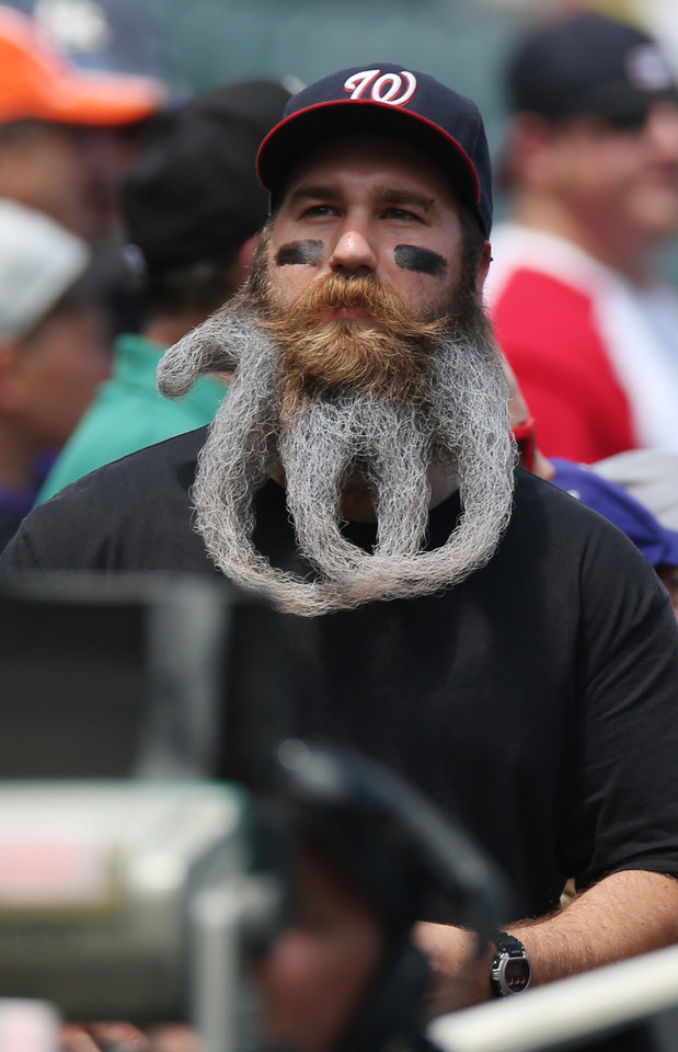 Photo - His beard curled to copy his favorite team's logo, Washington Nationals fan Eric Brooks looks on from the third base stands as the Colorado Rockies host the Nationals in the first inning of a baseball game in Denver on Wednesday, July 23, 2014. (AP Photo)