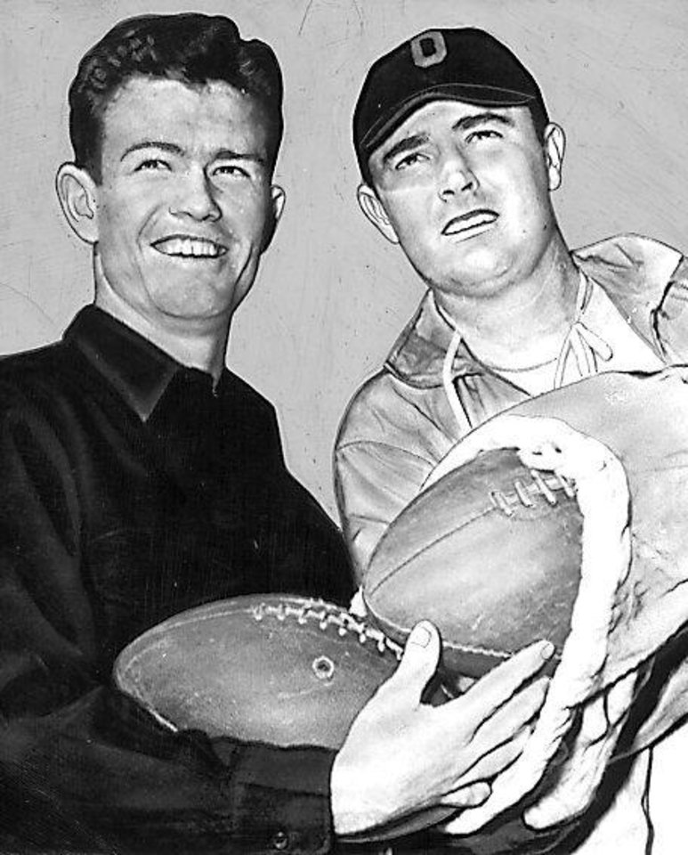 Darrell Royal and OU football coach Jim Tatum in 1946. OKLAHOMAN ARCHIVE PHOTO