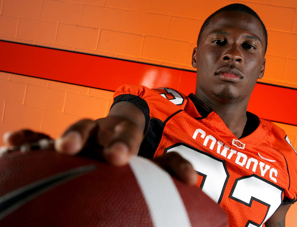 Photo - OSU COLLEGE FOOTBALL: Wide receiver Artrell Woods poses for a photo during Oklahoma State University football media day in Stillwater, Okla., Saturday, August 2, 2008. BY MATT STRASEN, THE OKLAHOMAN ORG XMIT: KOD