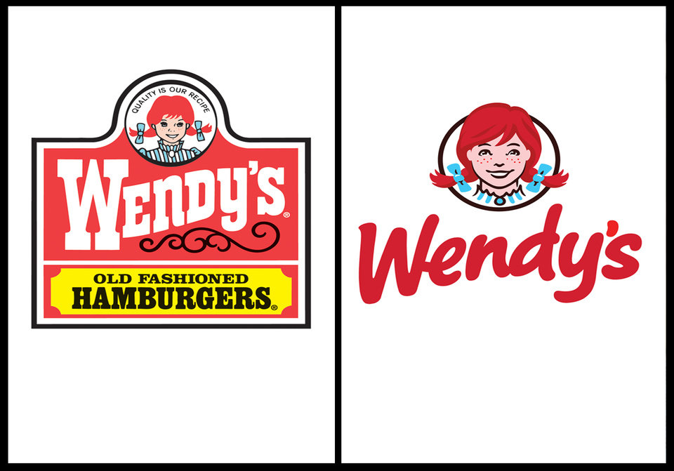 Photo -   This combination of undated images provide by Wendy's show the fast food company's original logo, left, and new logo, right. For the first time since 1983, the Dublin, Ohio-based fast food company announced it is updating its logo on Thursday, Oct. 11, 2012. In a move intended to signal its ongoing transformation into a higher-end hamburger chain, instead of the boxy, old-fashioned lettering against a red-and-yellow backdrop, the pared down new look features the chain's name in a casual red font against a clean white backdrop. (AP Photo/Wendy's)