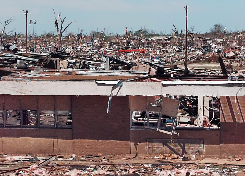 Tornado damage: Regency Park Addition,  Moore's  Kelley Elementary School with roof gone, 1900 N Janeway.