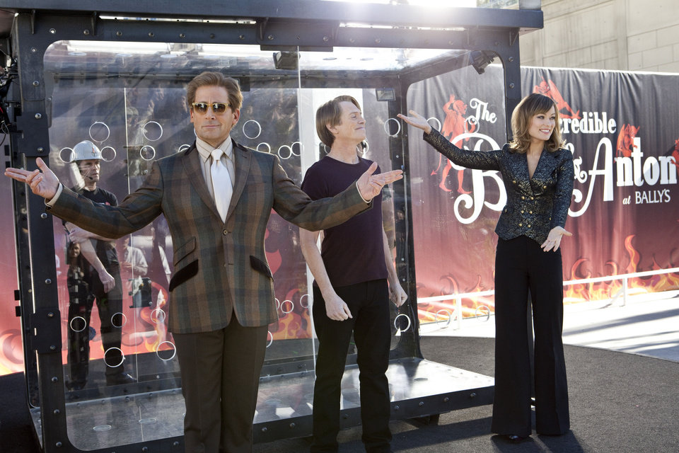 "From left, Steve Carell, Steve Buscemi and Olivia Wilde in a scene from ""The Incredible Burt Wonderstone."" WARNER BROS. PHOTO <strong></strong>"