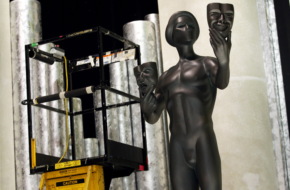 Photo - An Actor statue for the 19th annual SAG Awards are seen on stage, Saturday, Jan 26, 2013 in Los Angeles. The SAG Awards will be held Jan. 27, 2013. (Photo by Matt Sayles/Invision/AP)