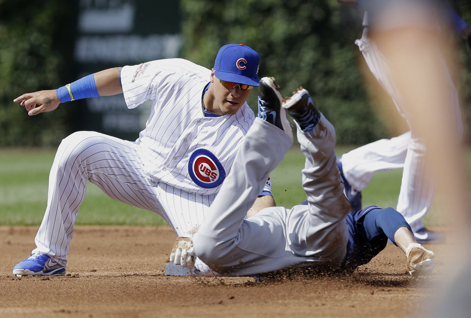 Photo - Chicago Cubs second baseman Javier Baez, left, tags out Tampa Bay Rays' Matt Joyce at second base during the second inning of an interleague baseball game in Chicago, Saturday, Aug. 9, 2014. (AP Photo/Nam Y. Huh)