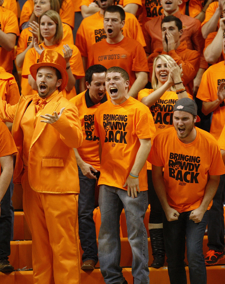 OSU fans cheer during a men\'s college basketball game between Oklahoma State University (OSU) and Gonzaga at Gallagher-Iba Arena in Stillwater, Okla., Monday, Dec. 31, 2012. Photo by Nate Billings, The Oklahoman