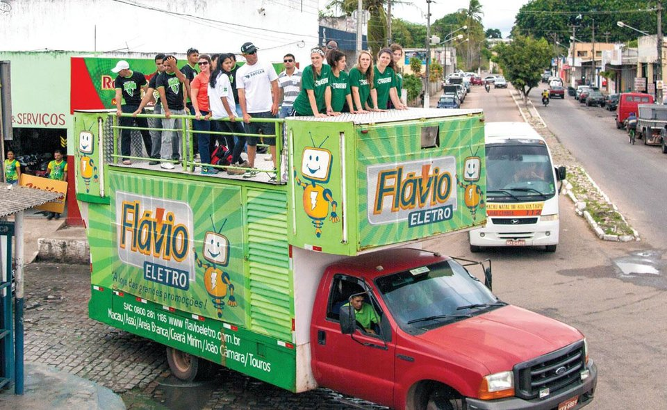 Photo -  The Oklahoma Baptist University women's soccer team received an enthusiastic welcome as they rode through the streets in Ceara-Mirim, Brazil, during a pre-World Cup mission trip in late May. Photo provided by Southern Baptist Convention's International Mission Board