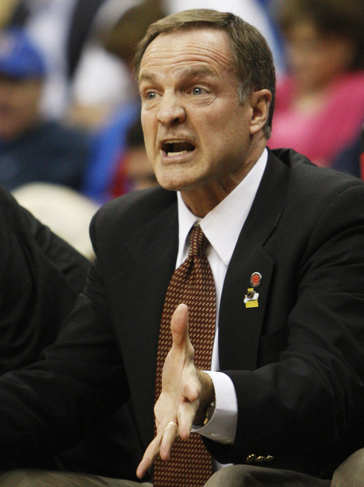 UNLV head coach Lon Kruger makes a call from the sideline against Illinois in the first half of a Southwest Regional NCAA tournament second round college basketball game, Friday, March 18, 2011 in Tulsa, Okla. (AP Photo)