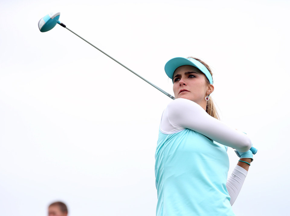 Photo - Lexi Thompson tees off from the third hole during a pro-am for the Shoprite Classic golf tournament in Galloway, N.J., , Thursday, May 29, 2013. (AP Photo/The Press of Atlantic City, Michael Ein) MANDATORY CREDIT
