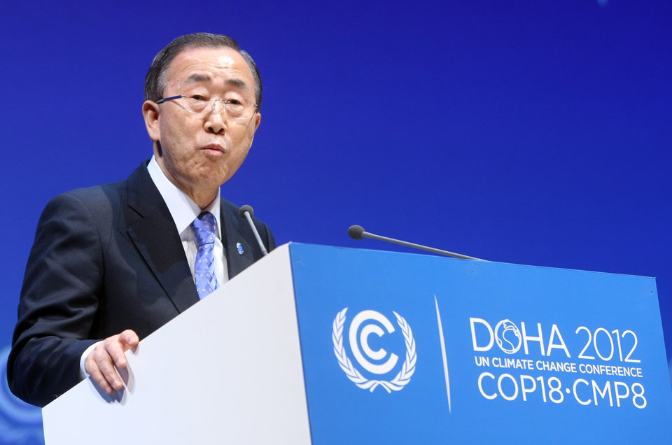 """U.N. Secretary-General Ban Ki-moon addresses the opening of the high-level segment of the annual U.N. climate talks involving environment ministers and climate officials from nearly 200 countries, in Doha, Qatar, Tuesday, Dec. 4, 2012. Ban has urged governments to speed up slow-moving talks to forge a joint response to global warming and warned that climate change was an """"existential challenge for the whole human race."""" (AP Photo/Osama Faisal)"""