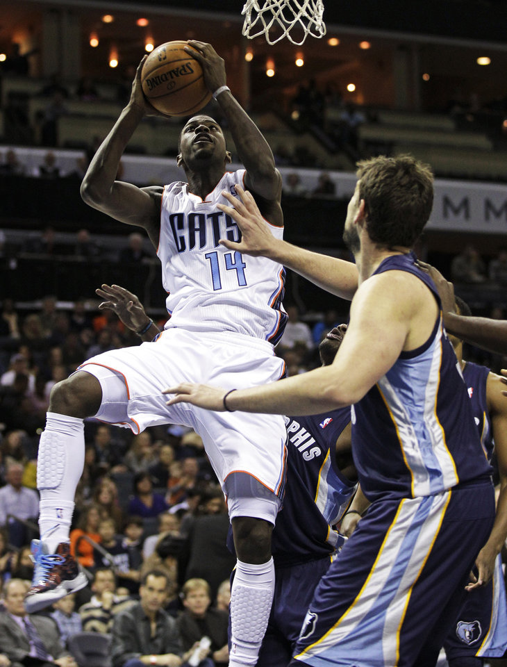 Charlotte Bobcats' Michael Kidd-Gilchrist, left, shoots as Memphis Grizzlies' Marc Gasol, right, of Spain, defends during the first half of an NBA basketball game, Saturday, Nov. 17, 2012, in Charlotte, N.C. (AP Photo/Chuck Burton)
