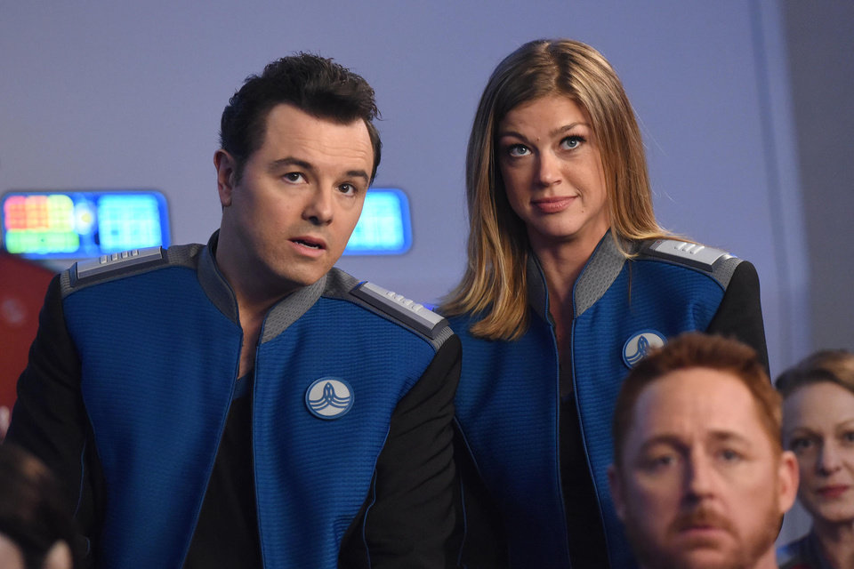 Photo - Seth MacFarlane and Adrianne Palicki in The Orville. [FOX]