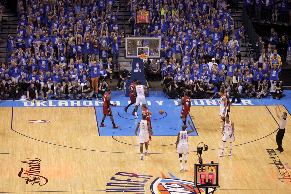The crowd reacts after a Kevin Durant basket during Game 1 of the NBA Finals between the Oklahoma City Thunder and the Miami Heat at Chesapeake Energy Arena in Oklahoma City, Tuesday, June 12, 2012. Photo by Bryan Terry, The Oklahoman