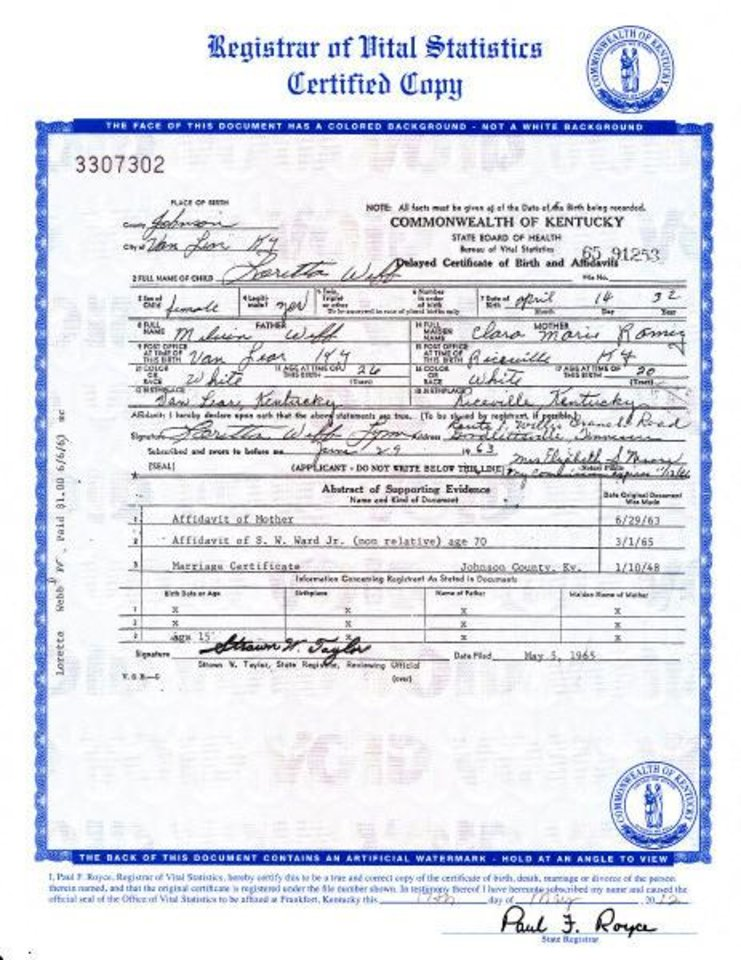 Photo -   An image of the birth certificate of country music legend Loretta Lynn, who was born Loretta Webb, is seen in an image provided by the Kentucky state Office of Vital Statistics. Newly discovered documents indicate country music legend Loretta Lynn is three years older than she has led people to believe, a change that casts shadows on the story told in