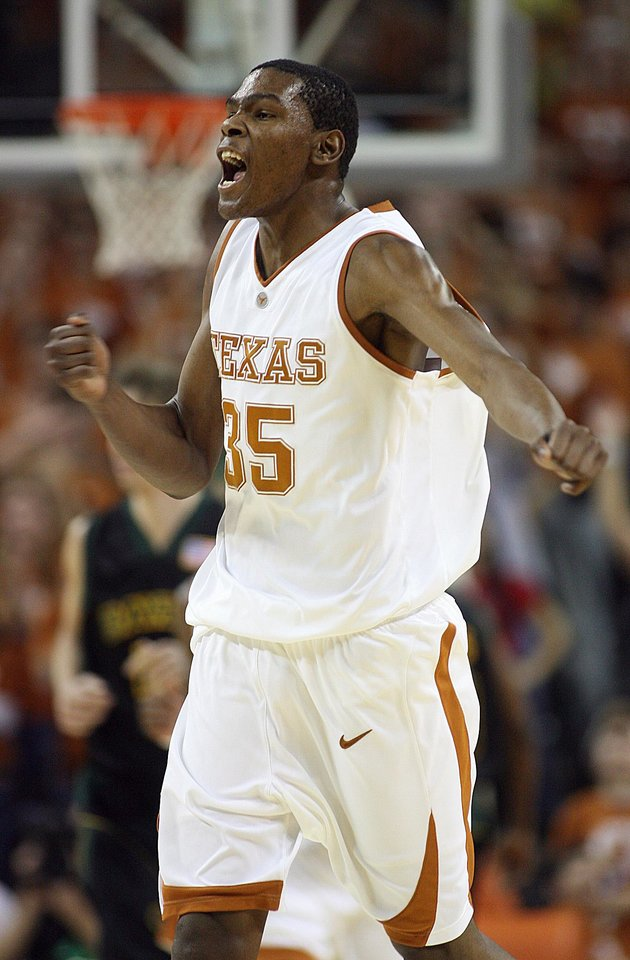 Photo - UNIVERSITY OF TEXAS COLLEGE BASKETBALL: Texas' Kevin Durant reacts after hitting a 3-pointer against Baylor during the second half of a basketball game in Austin, Texas, Saturday, Jan. 27, 2007. Texas beat Baylor 84-79. Durant scored 34 points. (AP Photo/Deborah Cannon) ORG XMIT: TXDC103