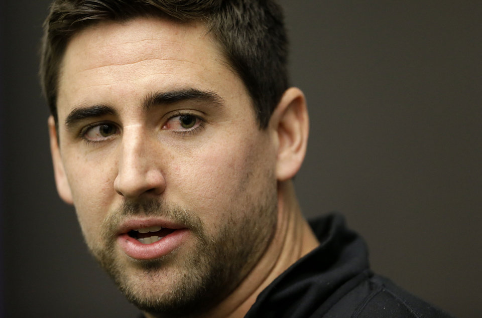 Photo - Baltimore Ravens tight end Dennis Pitta speaks at a news conference at the team's practice facility in Owings Mills, Md., Monday, Jan. 14, 2013. The Ravens are scheduled to face the New England Patriots in the AFC Championship on Sunday. (AP Photo/Patrick Semansky)