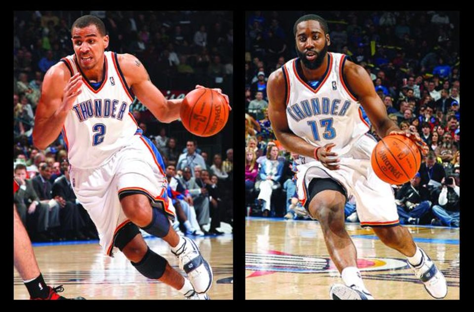 Photo - Thunder shooting guards Thabo Sefolosha, left, and James Harden, right, each bring a different skill set to the table. OKLAHOMAN ARCHIVE PHOTOS