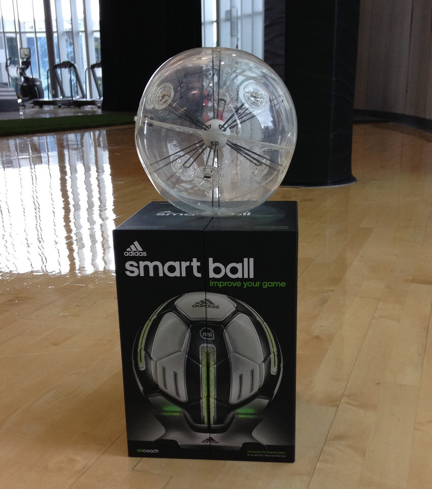 Photo - The adidas miCoach Smart Ball is seen at adidas' North American headquarters in Portland, Ore., on June 26, 2014. (AP Photo/Anne M. Peterson)