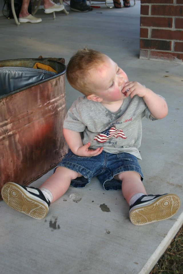 4th of July started early for lots of folks.  Thomas enjoyed eating ice to help cool off Saturday at the Miller family 4th July Party in Stroud, OK.<br/><b>Community Photo By:</b> Mitzi Aylor<br/><b>Submitted By:</b> Mitzi, Yukon